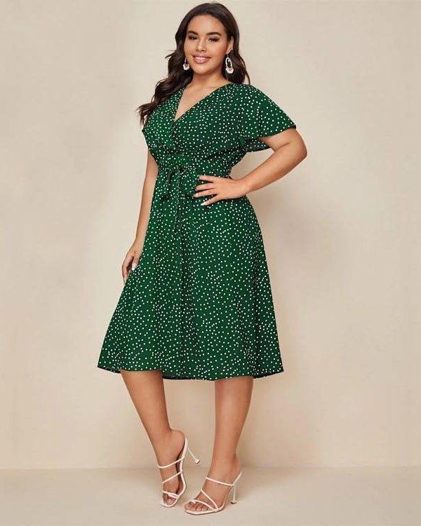 Green white polka dot v neck sashes dress
