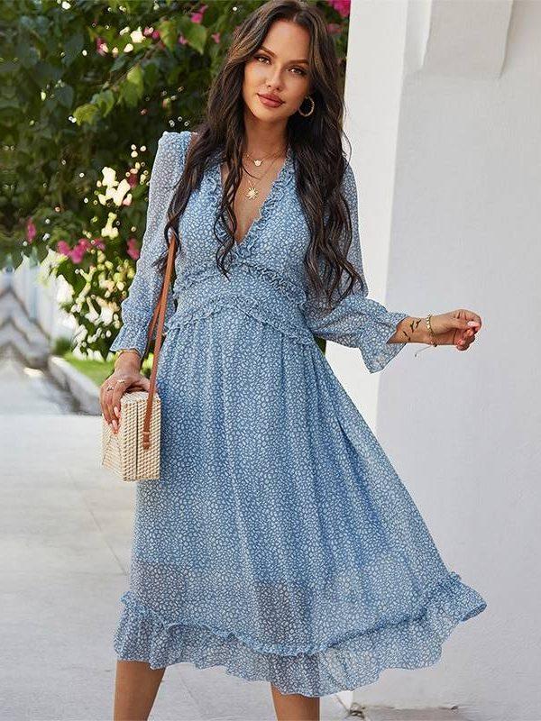V neck butterfly sleeve high waist print dress