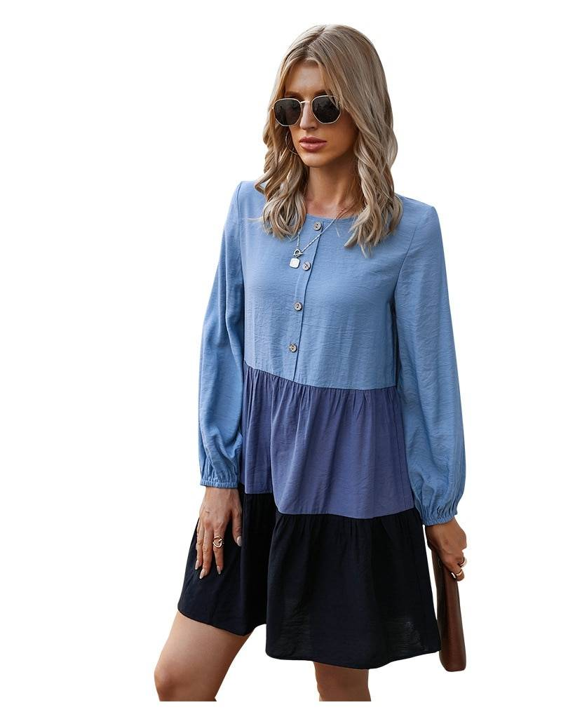 Full sleeve o neck button patchwork dress