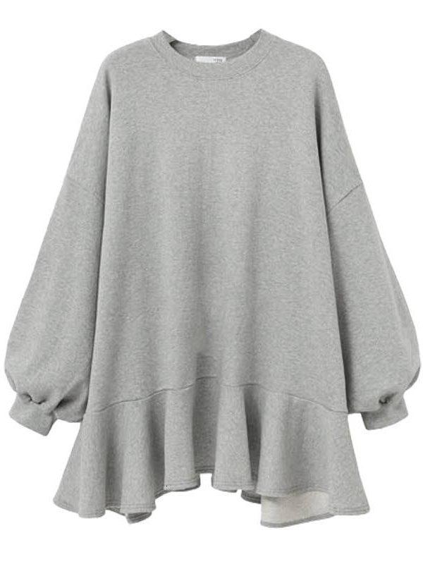 Gray wild loose ruffled dress