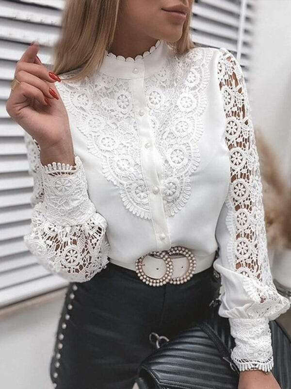 Lace patchwork hollow out long sleeve crew neck button mesh white vintage shirt