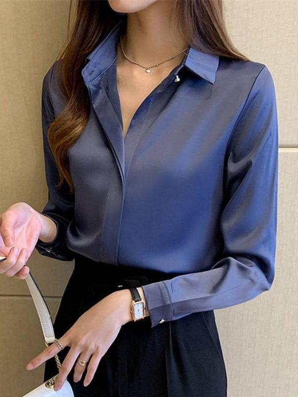Elegant long sleeve satin office blouse shirt