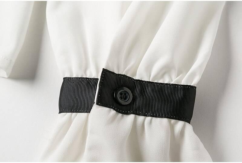 Women Tops White Ruffle Bow Neck Long Sleeve Shirt Chiffon 2021 New Work Wear Office Blusas Femininas harajuku Blouse Shirt 570A