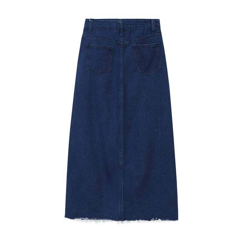 Long Denim Skirt Women 2020 Spring Autumn Vintage Elegant Casual Leisure A-line High Wasit Hipster Split Jeans Skirt Female