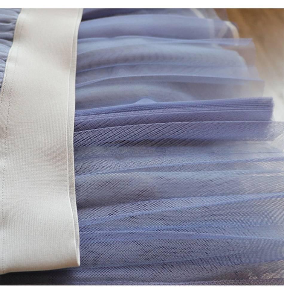SURMIITRO 2021 Spring Summer 3 Layers Korean Style Elegant Women Patchwork Mesh High Waist Midi Long Tulle Pleated Skirt Female