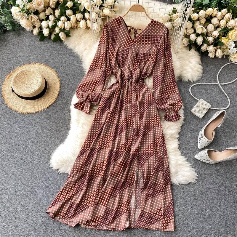 2021 French Spring Summer Women's Floral Chiffon Dress Femme Robe Long Sleeve Fashion Sexy V-Neck Vintage Dress Korean Clothing