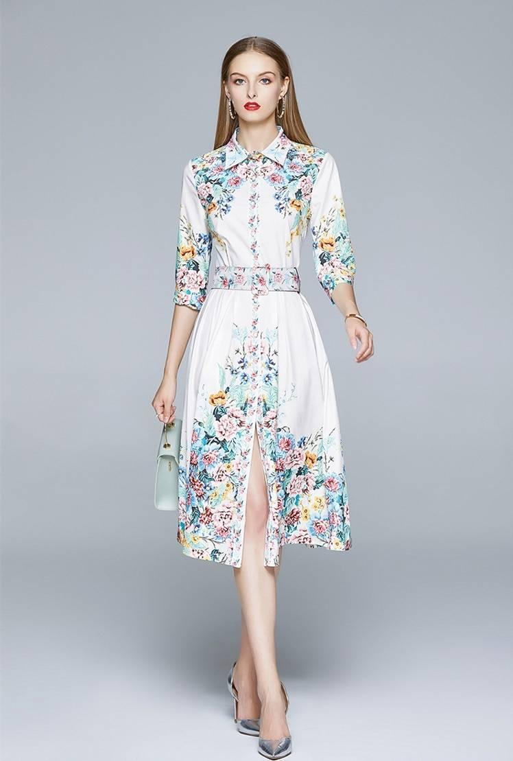 TESSCARA Women Summer Elegant Dress Shirt High Quality Vintage Office Party Robe Femme Floral Designer Casual Vestidos