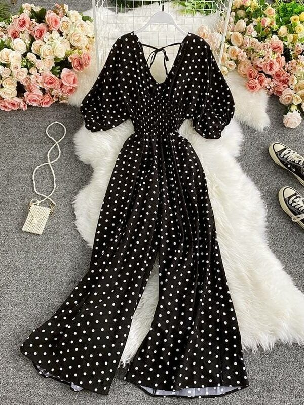 Polka dot elegant v-neck puff short sleeve high waist jumpsuit