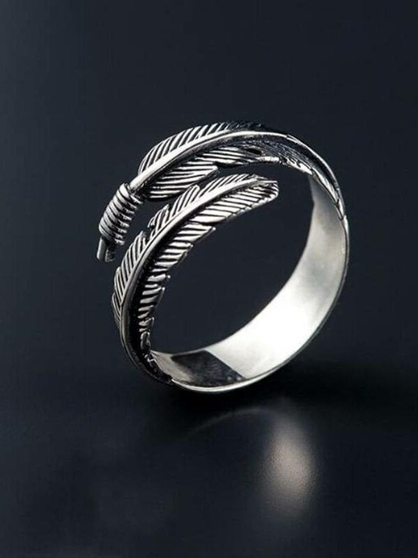 Retro silver feathers arrow opening ring