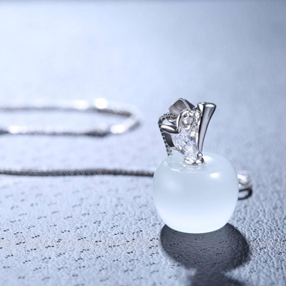 Silver Pink Opal Apple Shape Pendant Necklace Length 45CM 5