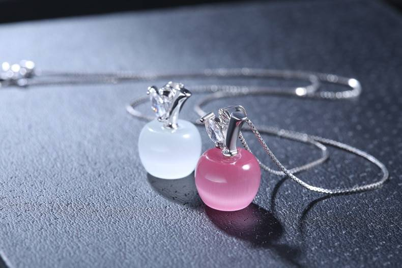 NEHZY 925 Sterling Silver New Woman Fashion Jewelry High Quality Pink Opal Apple Shape Pendant Necklace Length 45CM