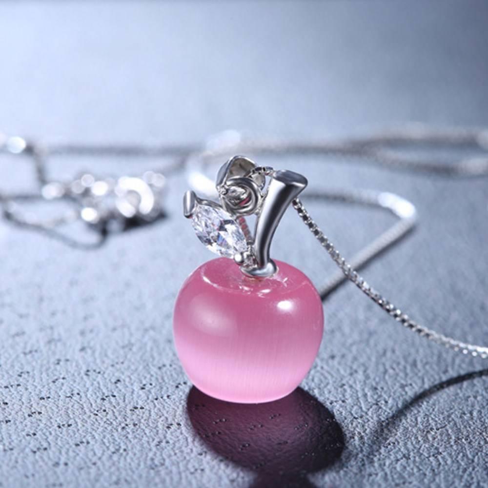 Silver Pink Opal Apple Shape Pendant Necklace Length 45CM 4