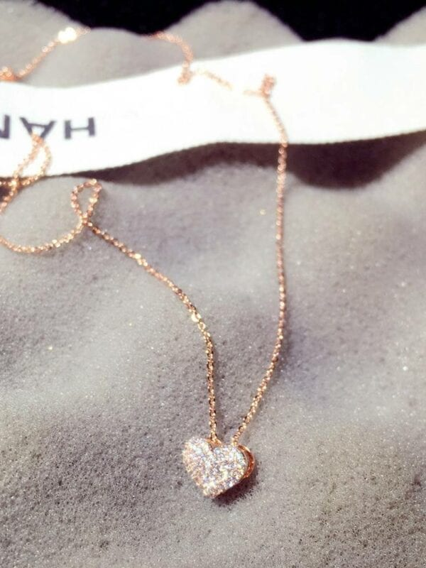 Zircon love heart shape necklace choker