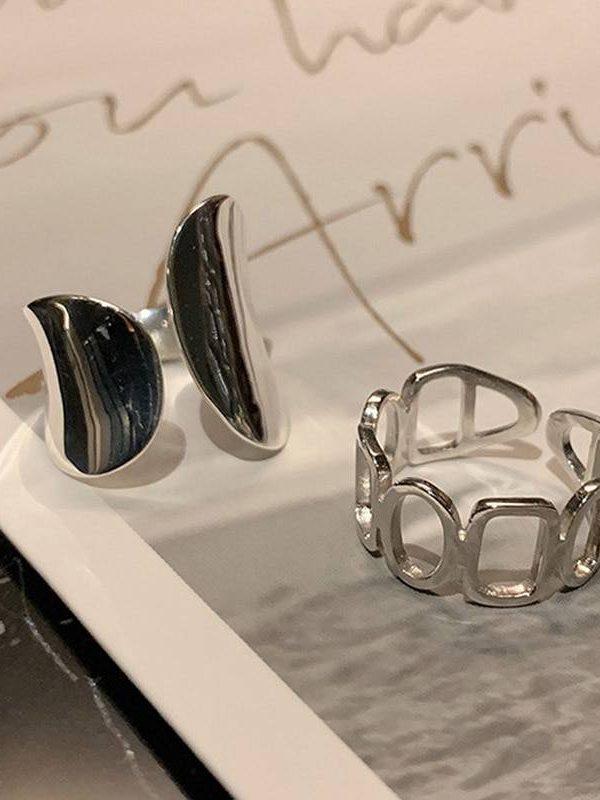 Creative hollow geometric silver width rings