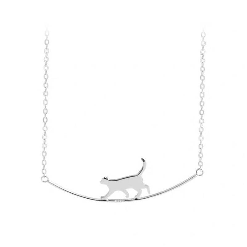 Silver Cute Walking Cat Clavicle Chain Necklace 4