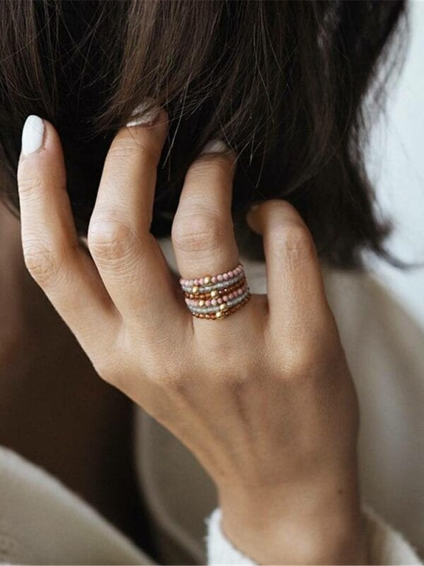 Bohemian handmade natural stone adjustable ring