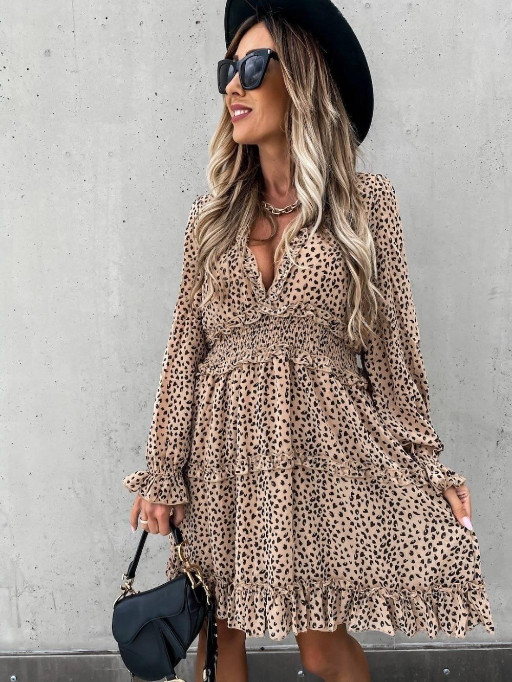 Deep V Neck Leopard Print Long Sleeve Ruffles A-Line Dress 3