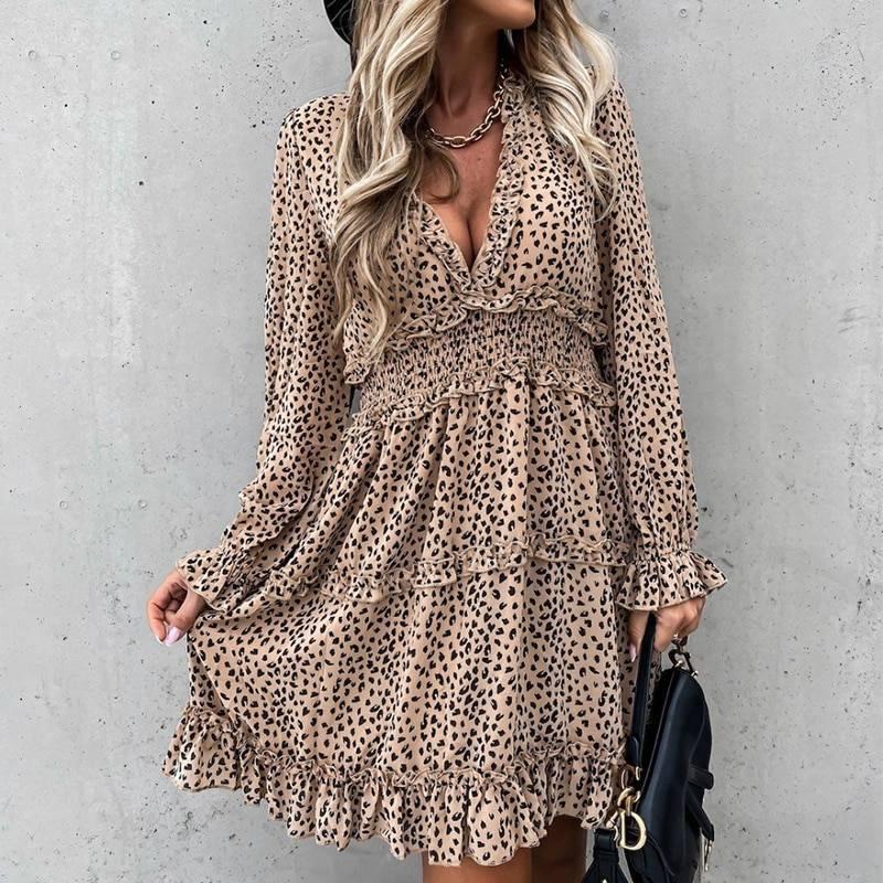 Deep V Neck Leopard Print Long Sleeve Ruffles A-Line Dress 1