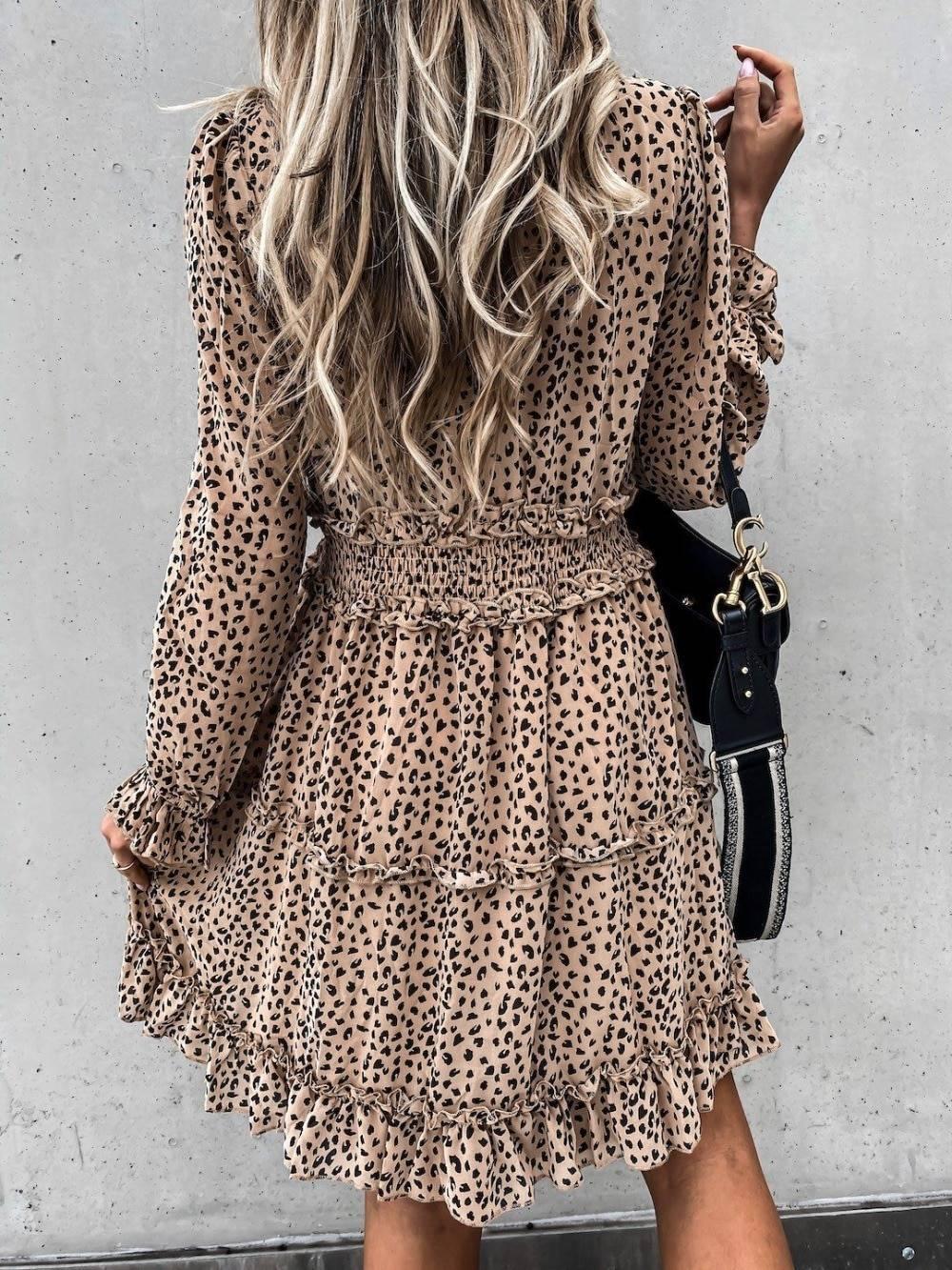 Deep V Neck Leopard Print Long Sleeve Ruffles A-Line Dress 2