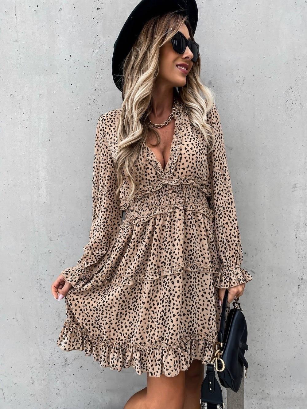 Deep V Neck Leopard Print Long Sleeve Ruffles A-Line Dress 4