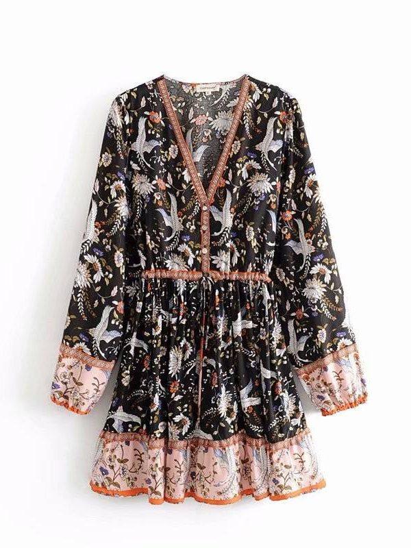 Flower print hem long sleeve patchwork lace up ruffles mini dress