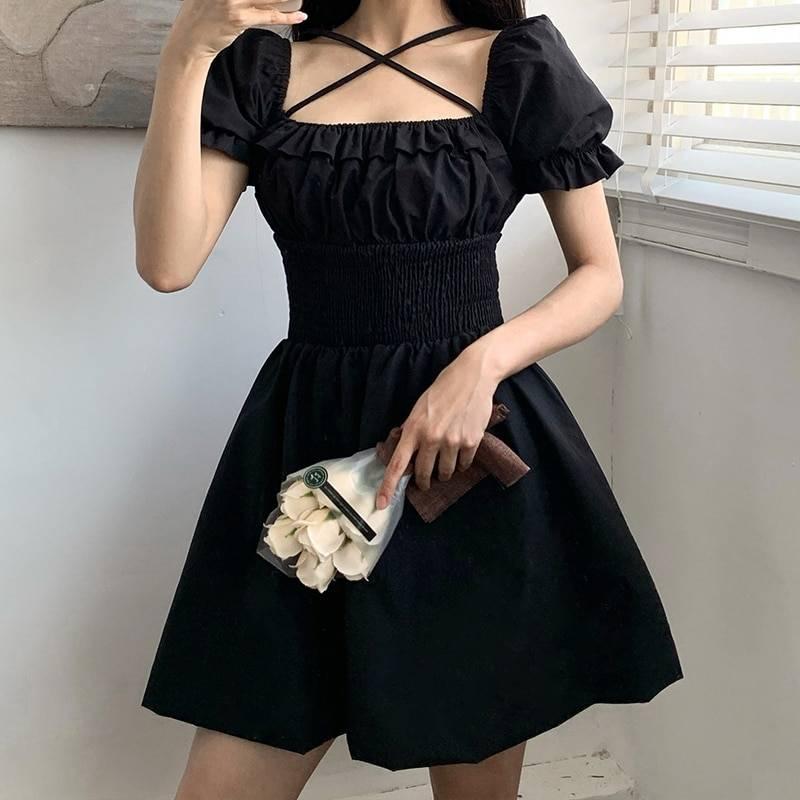 Vintage gothic ruffles dress