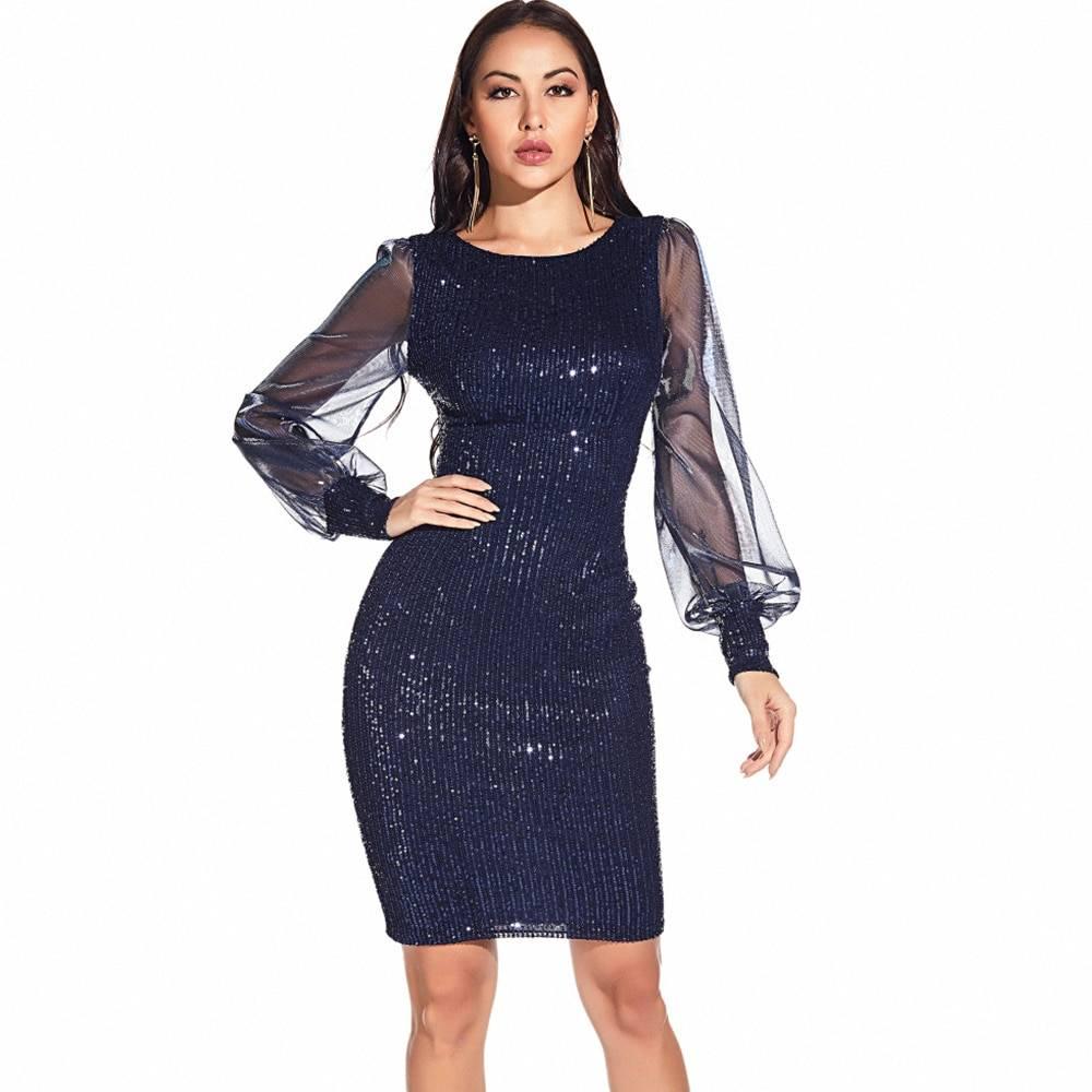 Vintage glitter long sleeve sequin office bodycon dress