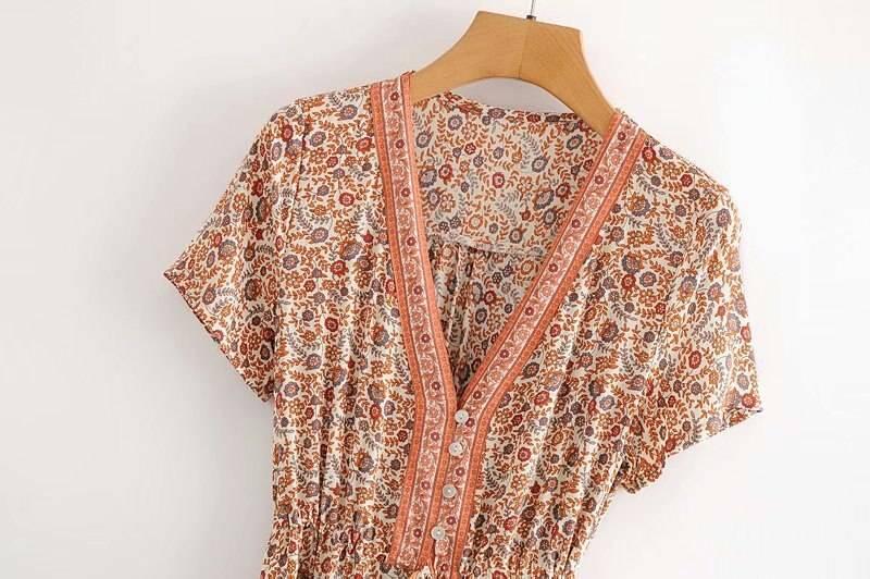 2021 Floral print summer beach Bohemian dress for women Ladies V-neck short sleeve dress female Tassel Boho hippie dress Chic
