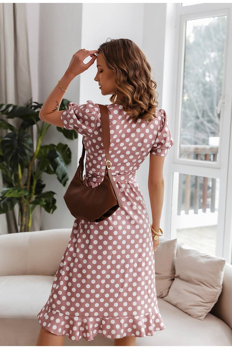 Vintage polka dot print ruffle sash a-line midi dress