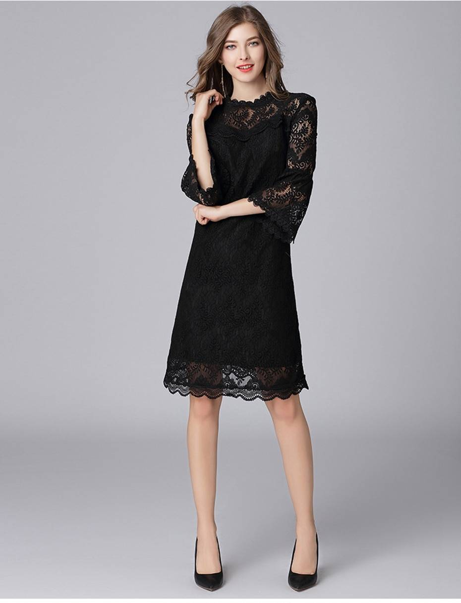 A-line trumpet sleeve elegant lace dress