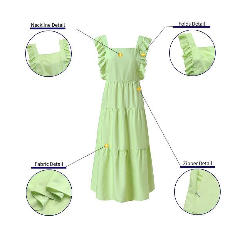 Ruffled sleeveless square collar bandage backless dress