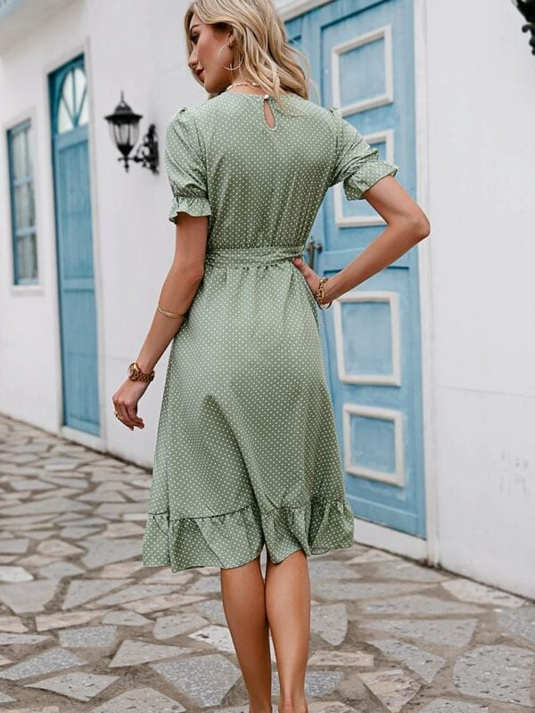 Chic polka dot puff sleeve o-neck high waist sash dress