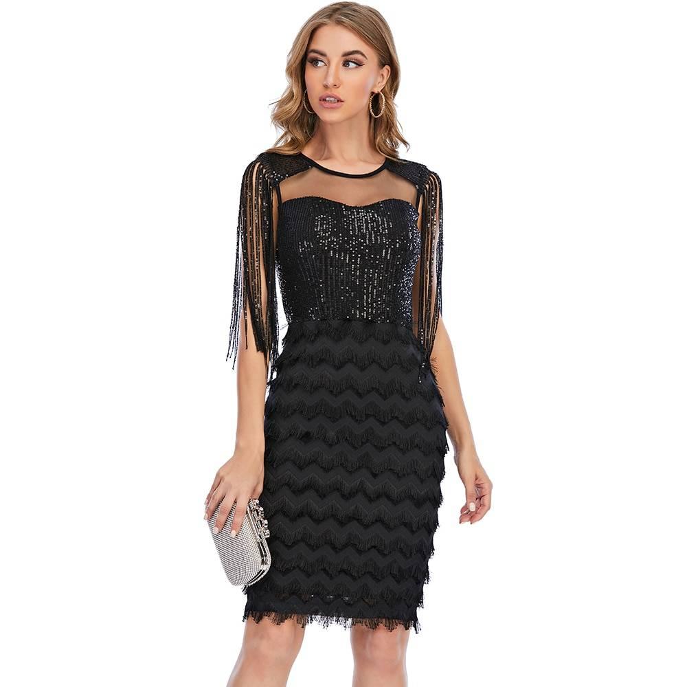 Vintage black tassel sequin bodycon dress