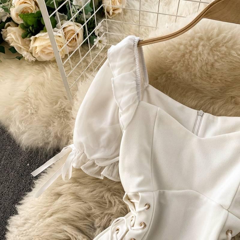 Elegant gothic black white high waist bandage dress