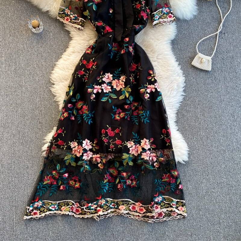 Elegant bow round neck short sleeve embroidery flower a-line dress