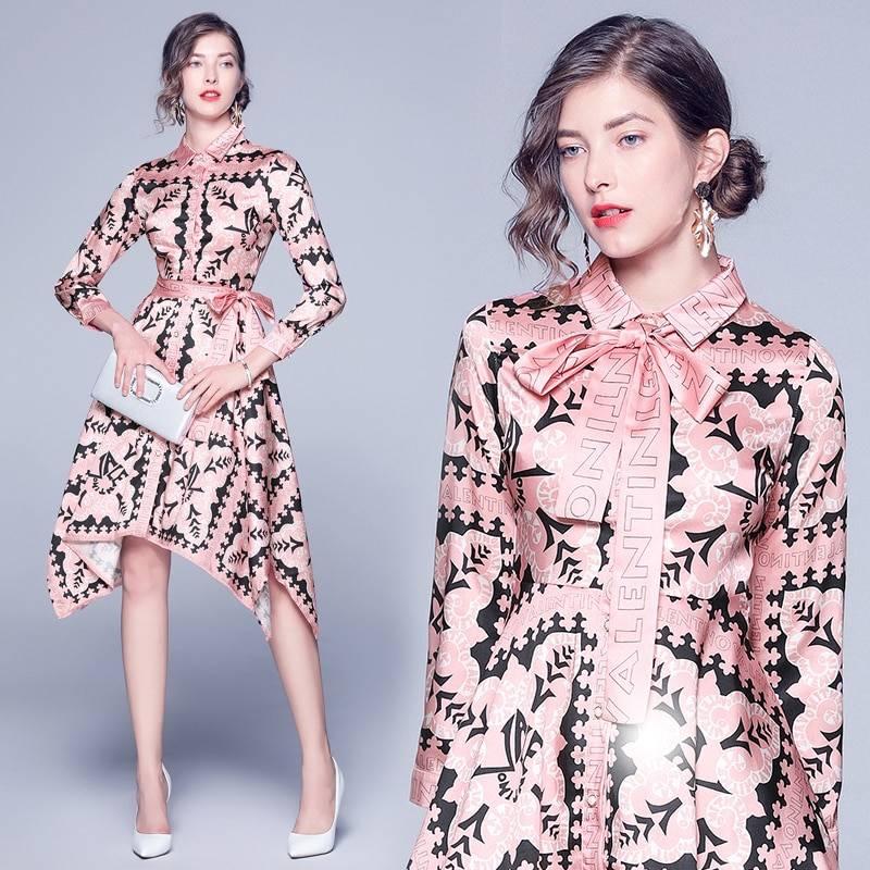 Bow lapel long sleeve waist irregular print dress