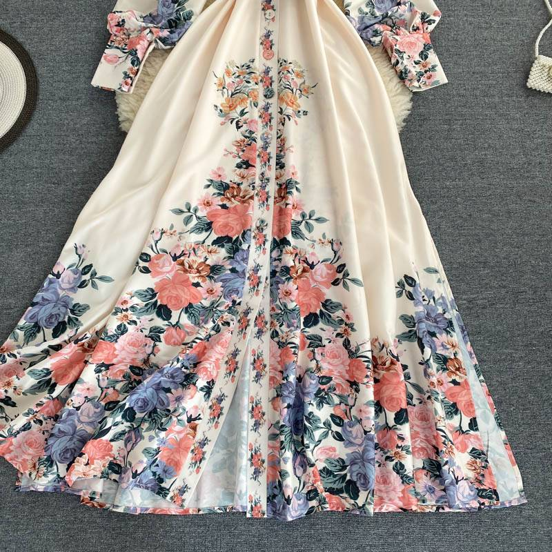 Floral print turn down collar single breasted high waist a line with belt dress