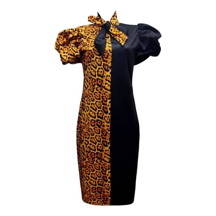 Patchwork leopard with bowtie short lanten sleeves office dress