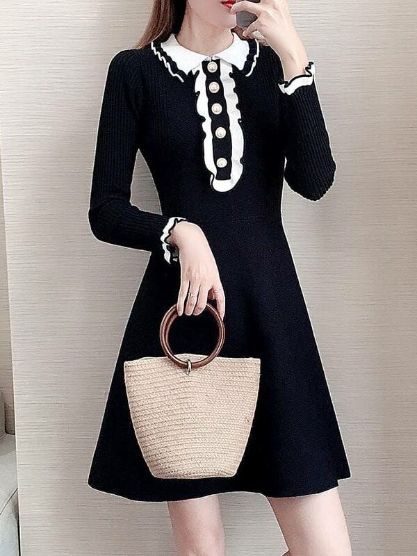 Vintage knitted sweater a-line dress