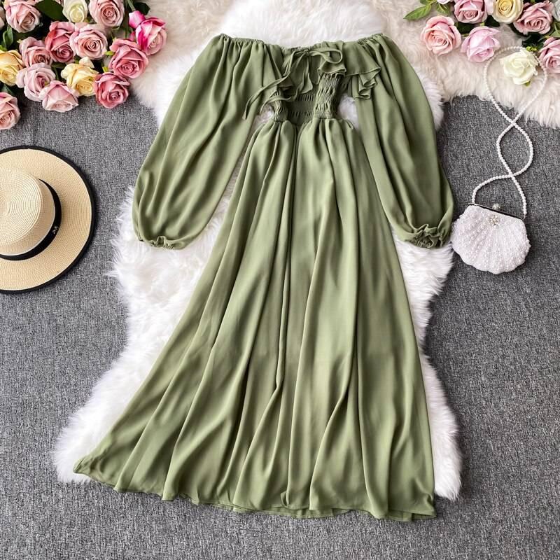Yellow/red/pink slash neck long sleeve high waist ruffle big swing chiffon midi dress