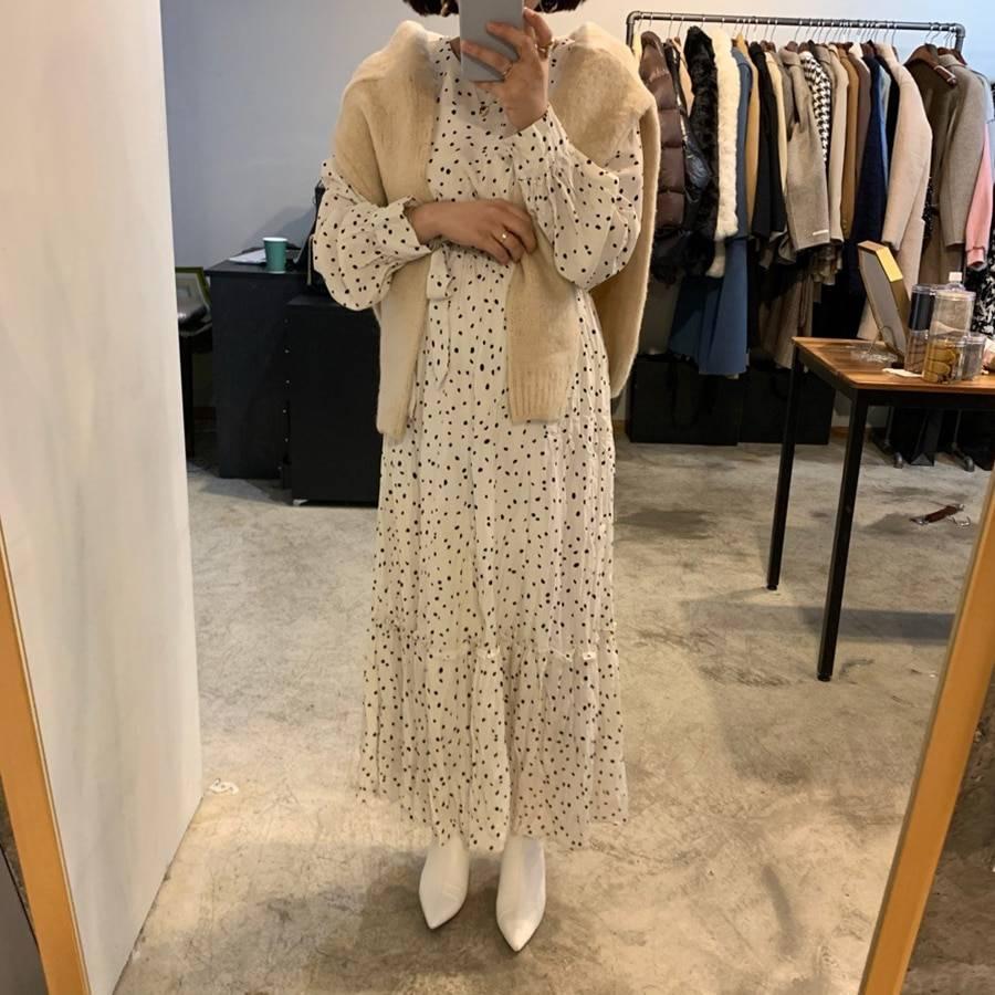 Polka dot round collar high waist long dress