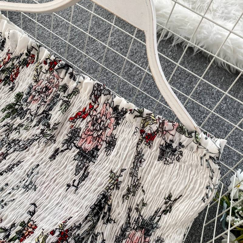 2020 Summer New Seaside Holiday Style Floral Long Dress Goddess Slash Neck High Waist Was Thin Irregular Ruffled Dress ML851