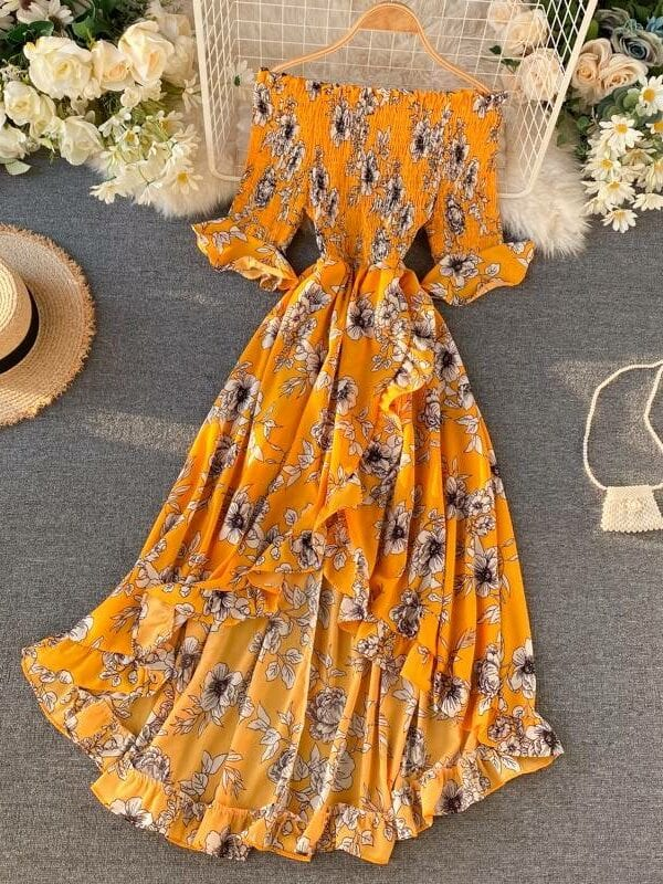 Floral slash neck high waist irregular ruffled dress