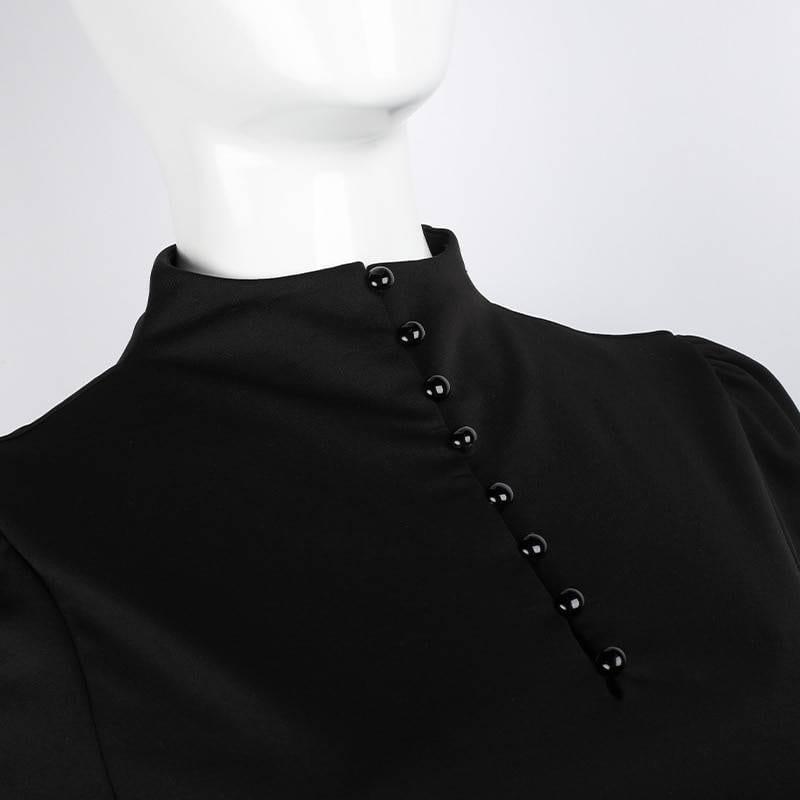 Y Demo Gothic Autumn Casual Long Sleeve Dress Women Lace Up Lantern Sleeve High Waist Dresses Female 2020