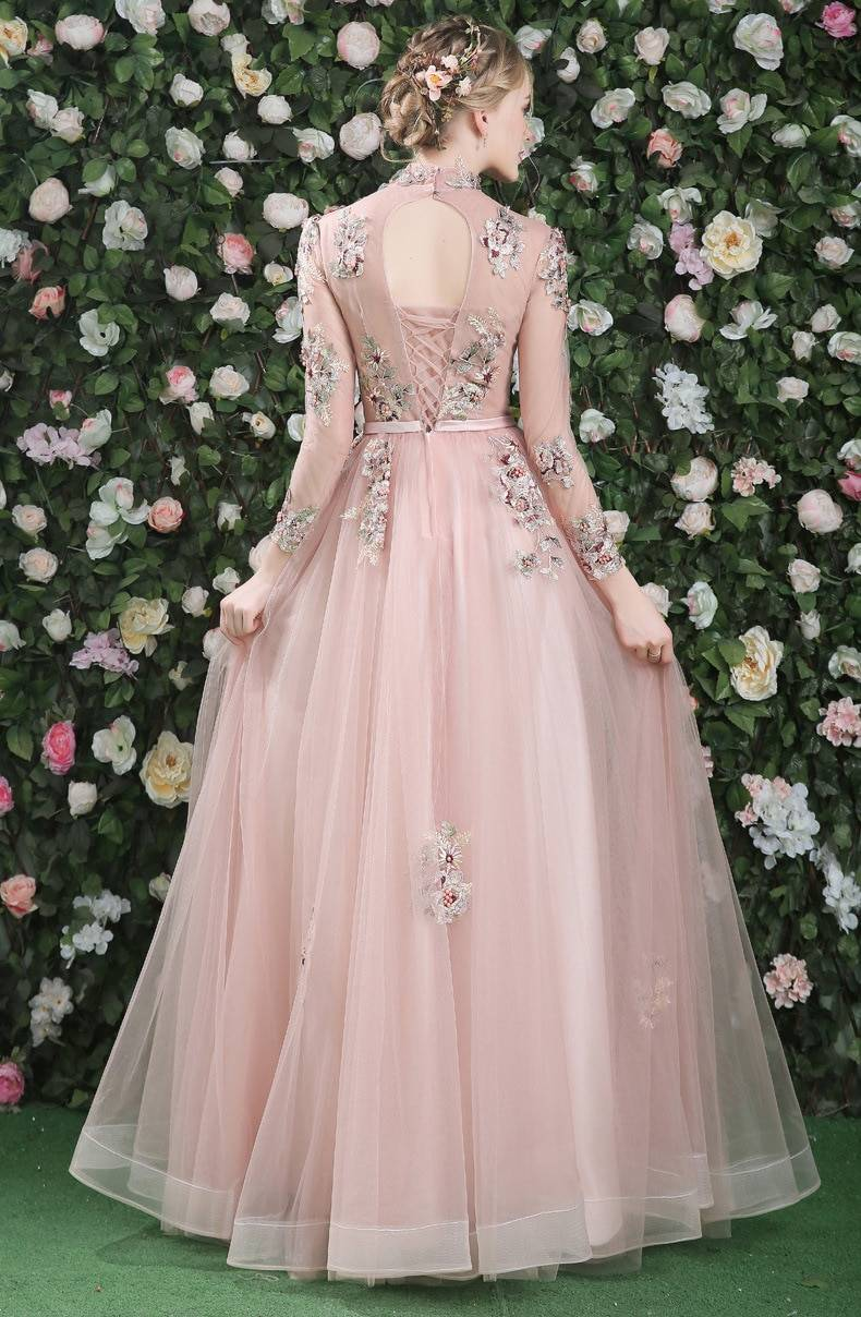 Full Sleeves Prom Dresses 2020 Pink Long High Neck Fashion Transparent Tulle Lace Applique Pearl Backless Evening Gown 100% Real