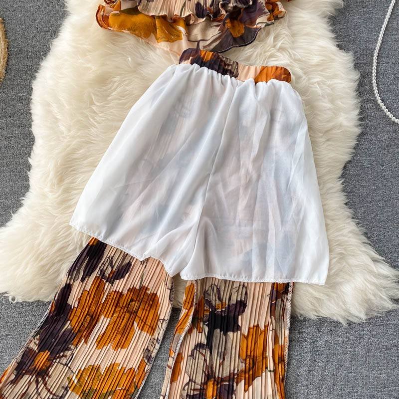 Women's Summer Sets Vacation Style Printed Short Camisole Pleated High-waist Wide-leg Pants Two-piece New Casual Sets LL956