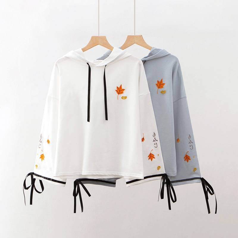 MERRY PRETTY Women Floral Embroidery Hooded Sweatshirts Sweet Style Long Sleeve Pullover Tracksuits Femme Harajuku White Hoodies