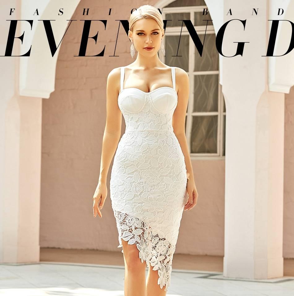 Adyce 2021 New Summer Women Spaghetti Strap White Lace Club Party Bandage Dress Sexy Sleeveless Celebrity Evening Runway Dresses