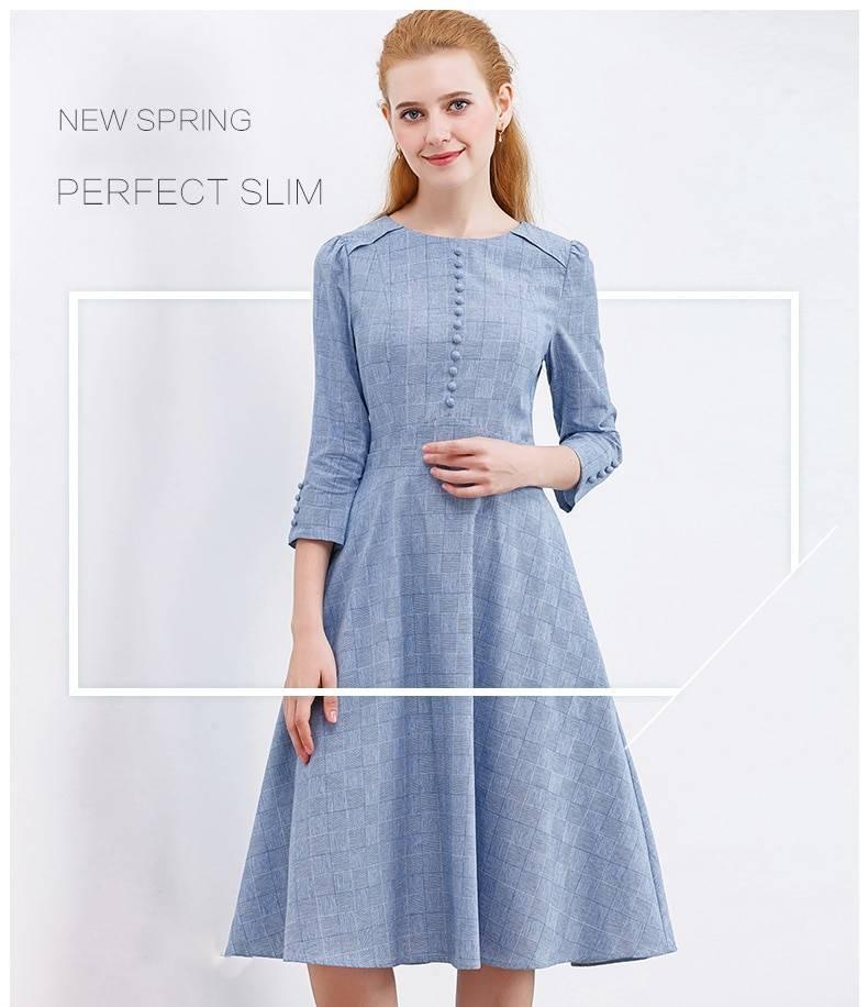 Women Summer A-line Blue Dress Solid O-Neck Button Up Half Sleeve OL Dress High Waist Holiday Dress For Women Summer