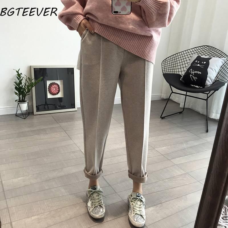 BGTEEVER Winter Thicken Women Pencil Pants Plus Size Wool Pants Female Autumn High Waist Loose Trousers Capris Good Fabric